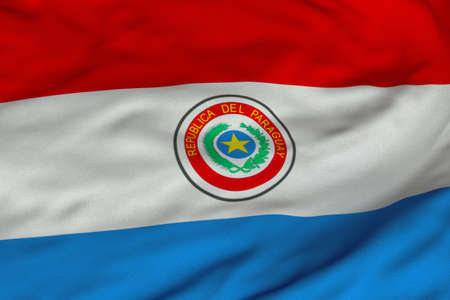 Detailed 3D rendering closeup of the flag of Paraguay.  Flag has a detailed realistic fabric texture and an accurate design and colors.