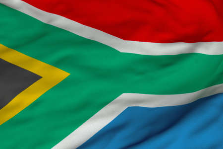 Detailed 3D rendering closeup of the flag of South Africa.  Flag has a detailed realistic fabric texture and an accurate design and colors.