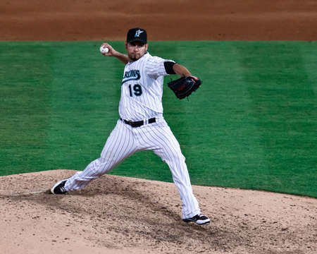 rockies: MIAMI, FL USA - APR. 22: Marlin starting pitcher Anibal Sanchez delivers a pitch during the Colorado Rockies vs. Florida Marlins game.  Sanchez would finish with a one hitter April 22, 2011 in Miami, FL. Editorial