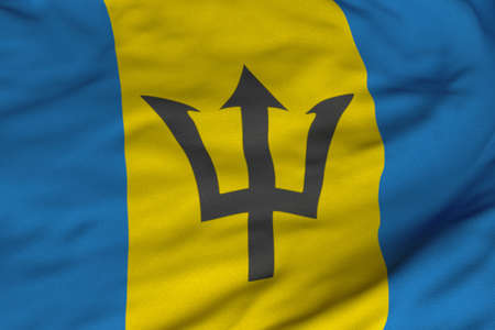 barbadian: Detailed 3D rendering closeup of the flag of Barbados.  Flag has a detailed realistic fabric texture and an accurate design and colors.