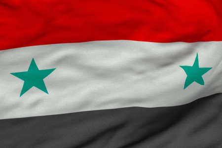 Gedetailleerde 3D-rendering close-up van de vlag van Syrië.  Vlag heeft een gedetailleerde realistische stof textuur en een nauwkeurige ontwerp en kleuren.