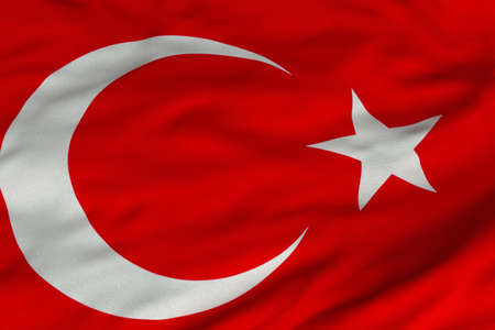 Detailed 3D rendering closeup of the flag of Turkey.  Flag has a detailed realistic fabric texture and an accurate design and colors.