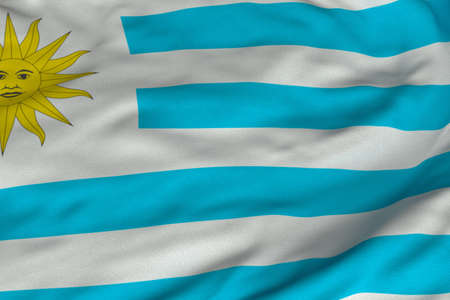 Detailed 3D rendering closeup of the flag of Uruguay. Flag has a detailed realistic fabric texture and an accurate design and colors.