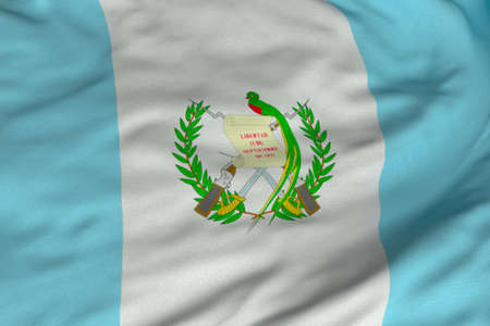 Detailed 3D rendering closeup of the flag of Guatemala.  Flag has a detailed realistic fabric texture and an accurate design and colors. photo