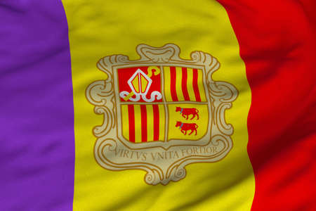 Detailed 3D rendering closeup of the flag of Andorra.  Flag has a detailed realistic fabric texture and an accurate design and colors. photo