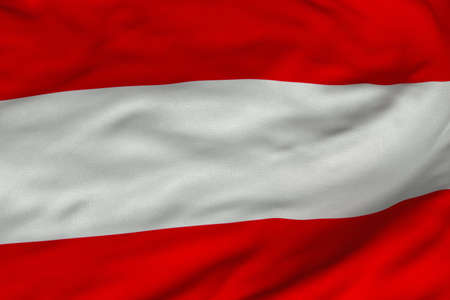 Detailed 3D rendering closeup of the flag of Austria.  Flag has a detailed realistic fabric texture and an accurate design and colors. photo