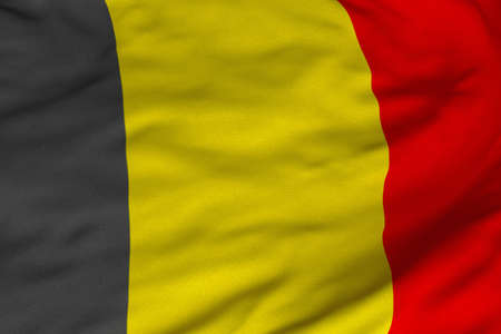 Detailed 3D rendering closeup of the flag of Belgium.  Flag has a detailed realistic fabric texture and an accurate design and colors.