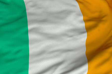 Detailed 3D rendering closeup of the flag of Ireland.  Flag has a detailed realistic fabric texture and an accurate design and colors.