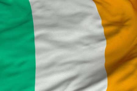bandera de irlanda: Detalle de representaci�n 3D detallada de la bandera de Irlanda.  Bandera tiene una textura de tejido realista detallada y un dise�o y colores.