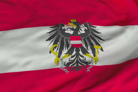 Detailed 3D rendering closeup of the state flag of Austria.  Flag has a detailed realistic fabric texture and an accurate design and colors. photo