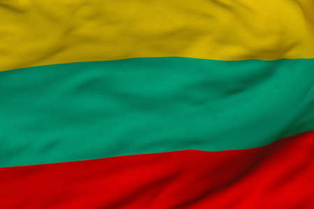 Detailed 3D rendering closeup of the flag of Lithuania.  Flag has a detailed realistic fabric texture and an accurate design and colors. Reklamní fotografie