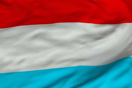 Gedetailleerde 3D-rendering close-up van de vlag van Luxemburg.  De vlag heeft een gedetailleerde realistische weefsel textuur en een nauwkeurige ontwerp en kleuren.