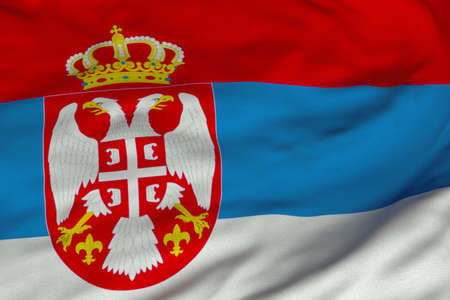 Detailed 3D rendering closeup of the flag of Serbia.  Flag has a detailed realistic fabric texture and an accurate design and colors.