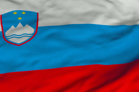 Detailed 3D rendering closeup of the flag of Slovenia.  Flag has a detailed realistic fabric texture and an accurate design and colors.