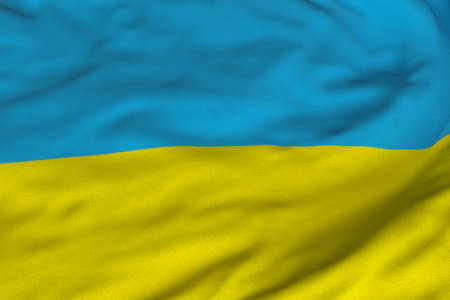 Detailed 3D rendering closeup of the flag of Ukraine.  Flag has a detailed realistic fabric texture and an accurate design and colors. photo