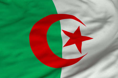 Detailed 3D rendering closeup of the flag of Algeria.  Flag has a detailed realistic fabric texture and an accurate design and colors. Stock Photo - 9520211
