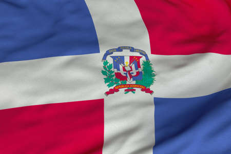 Detailed 3D rendering closeup of the state flag of the Dominican Republic France.  Flag has a detailed realistic fabric texture and an accurate design and colors.