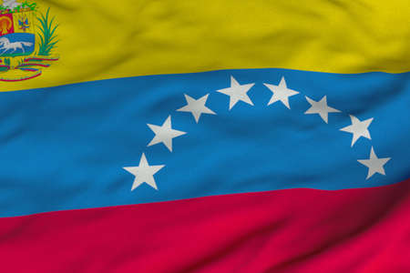 Detailed 3D rendering closeup of the state flag of Venezuela.  Flag has a detailed realistic fabric texture and an accurate design and colors. photo