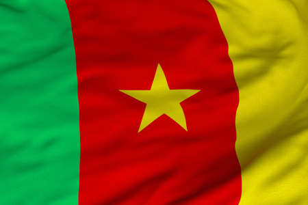 cameroonian: Detailed 3D rendering closeup of the flag of Cameroon.  Flag has a detailed realistic fabric texture and an accurate design and colors.