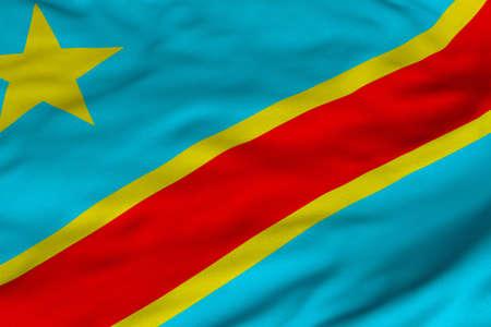 コンゴ民主共和国の旗の詳細な 3 D レンダリングのクローズ アップ。 フラグは詳細な現実的なファブリックのテクスチャと正確なデザインと色。