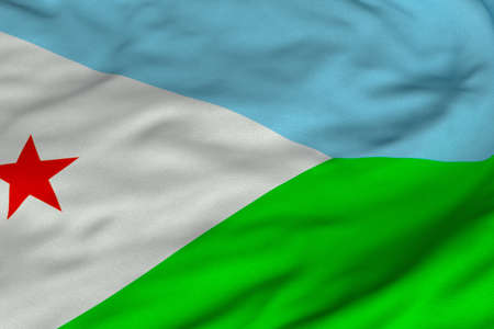 Detailed 3D rendering closeup of the flag of Djibouti.  Flag has a detailed realistic fabric texture and an accurate design and colors.