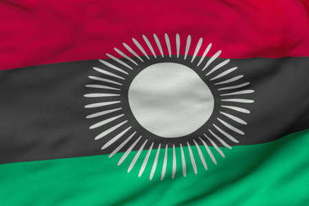 malawian: Detailed 3D rendering closeup of the flag of Malawi.  Flag has a detailed realistic fabric texture and an accurate design and colors. Stock Photo