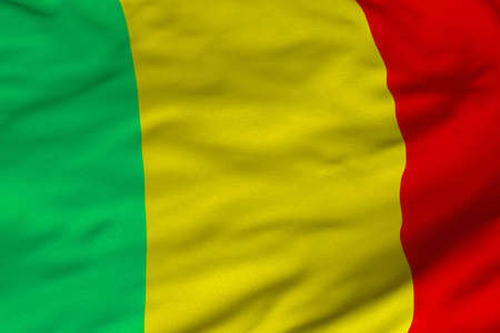 Detailed 3D rendering closeup of the flag of Mali.  Flag has a detailed realistic fabric texture and an accurate design and colors. photo