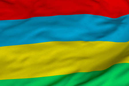 Detailed 3D rendering closeup of the flag of Mauritius.  Flag has a detailed realistic fabric texture and an accurate design and colors.