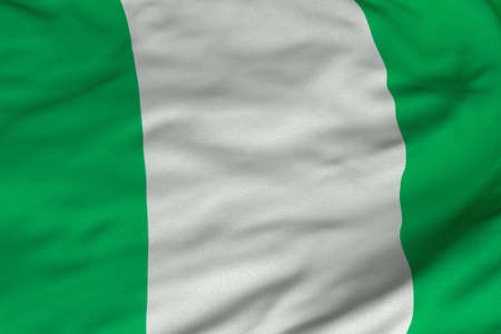 Detailed 3D rendering closeup of the flag of Nigeria.  Flag has a detailed realistic fabric texture and an accurate design and colors.