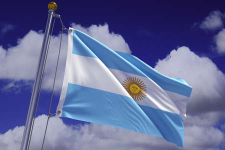 Detailed 3d rendering of the flag of Argentina hanging on a flag pole and waving in the wind against a blue sky.  Flag has a detailed fabric texture and accurate design and colors. A clipping path is included. photo