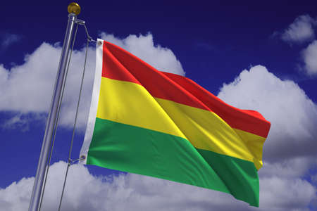 Detailed 3d rendering of the flag of Bolivia hanging on a flag pole and waving in the wind against a blue sky.  Flag has a detailed fabric texture and accurate design and colors. A clipping path is included. photo