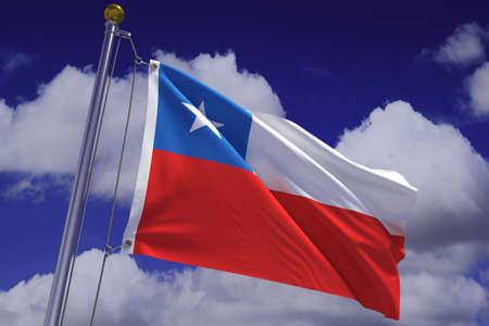 chilean flag: Representaci�n 3d detallada de la bandera de Chile colgado de un poste de bandera y ondeando en el viento contra un cielo azul.  Bandera tiene una textura de tejido detallada y dise�o y colores. Se incluye un trazado de recorte. Foto de archivo
