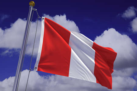 Detailed 3d rendering of the flag of Peru hanging on a flag pole and waving in the wind against a blue sky.  Flag has a detailed fabric texture and accurate design and colors. A clipping path is included. Stock fotó