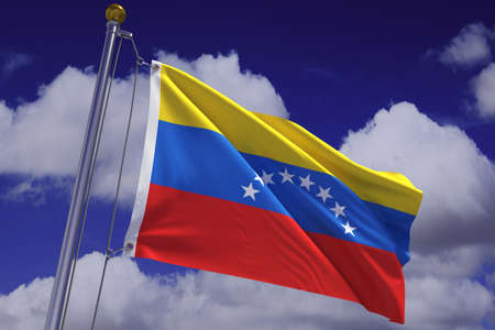 Detailed 3d rendering of the flag of Venezuela hanging on a flag pole and waving in the wind against a blue sky.  Flag has a detailed fabric texture and accurate design and colors. A clipping path is included. photo