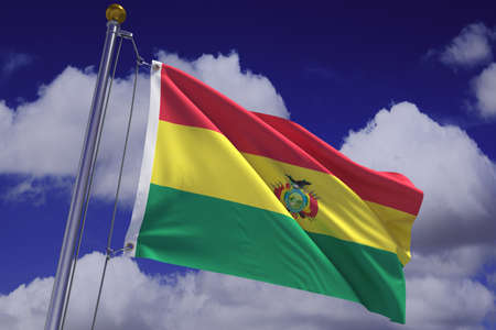 Detailed 3d rendering of the state flag of Bolivia hanging on a flag pole and waving in the wind against a blue sky.  Flag has a detailed fabric texture and accurate design and colors. photo