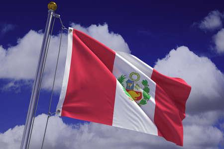 bandera peru: Representaci�n 3d detallada de la bandera de Per� colgado de un poste de bandera y ondeando en el viento contra un cielo azul.  Bandera tiene una textura de tejido detallada y dise�o y colores. Foto de archivo