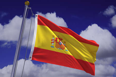 Detailed 3d rendering of the flag of Spain hanging on a flag pole and waving in the wind against a blue sky.  Flag has a detailed fabric texture and accurate design and colors. Imagens