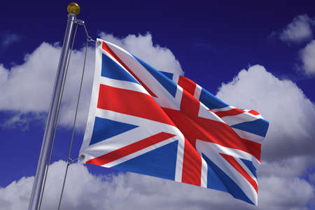 Detailed 3d rendering of the flag of the United Kingdom hanging on a flag pole and waving in the wind against a blue sky.  Flag has a detailed fabric texture and accurate design and colors.