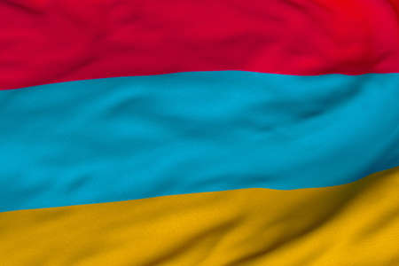 Detailed 3D rendering closeup of the flag of Armenia.  Flag has a detailed realistic fabric texture and an accurate design and colors.