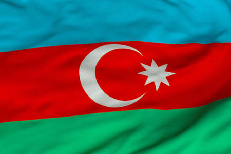 Detailed 3D rendering closeup of the flag of Azerbaijan.  Flag has a detailed realistic fabric texture and an accurate design and colors.
