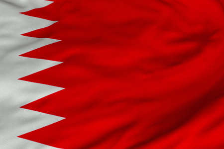 Detailed 3D rendering closeup of the flag of Bahrain.  Flag has a detailed realistic fabric texture and an accurate design and colors. Stock Photo - 9666582