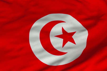 Detailed 3D rendering closeup of the flag of Tunisia.  Flag has a detailed realistic fabric texture and an accurate design and colors. Stock Photo - 9666583