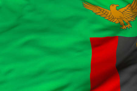 zambian: Detailed 3D rendering closeup of the flag of Zambia.  Flag has a detailed realistic fabric texture and an accurate design and colors.