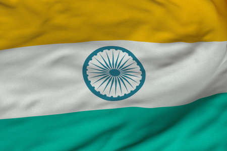 Detailed 3D rendering closeup of the flag of India.  Flag has a detailed realistic fabric texture and an accurate design and colors.
