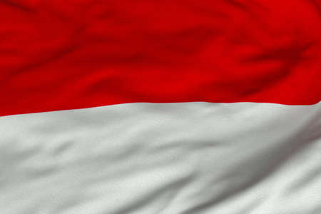 Detailed 3D rendering closeup of the flag of Indonesia.  Flag has a detailed realistic fabric texture and an accurate design and colors. photo
