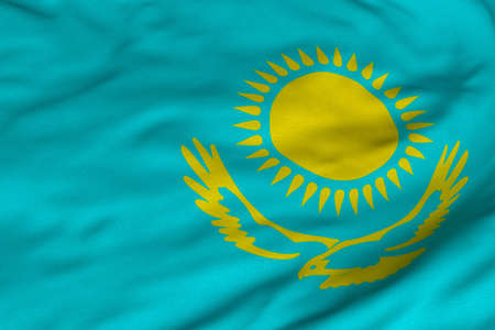Detailed 3D rendering closeup of the flag of Kazakhstan.  Flag has a detailed realistic fabric texture and an accurate design and colors. Reklamní fotografie