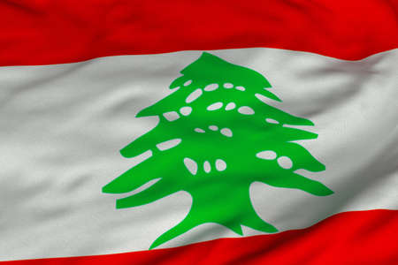 Detailed 3D rendering closeup of the flag of Lebanon.  Flag has a detailed realistic fabric texture and an accurate design and colors.