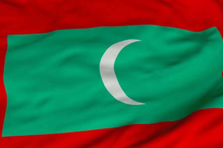 Detailed 3D rendering closeup of the flag of the Maldives.  Flag has a detailed realistic fabric texture and an accurate design and colors. Imagens