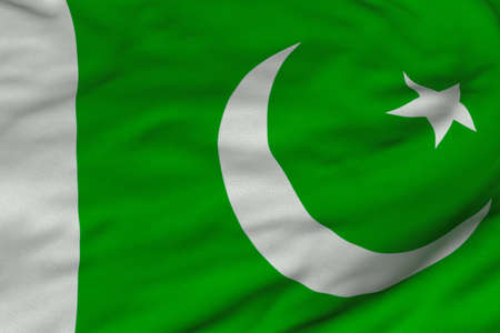 Detailed 3D rendering closeup of the flag of Pakistan.  Flag has a detailed realistic fabric texture and an accurate design and colors.