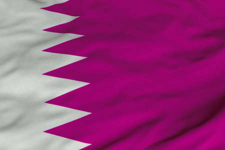 Detailed 3D rendering closeup of the flag of Qatar.  Flag has a detailed realistic fabric texture and an accurate design and colors. 版權商用圖片